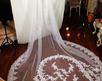 Lace wedding veil, lace applique veil