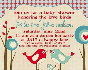 Baby Shower Invitation -- Love Birds
