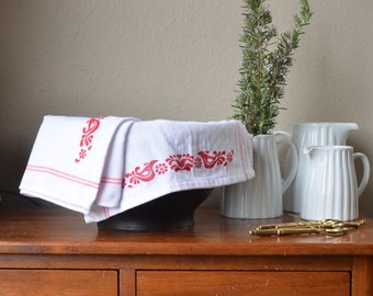 Vintage Pyrex Friendship inspired hand printed tea towel set