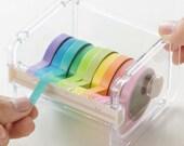Washi Tape Dispenser, Tape Dispenser And 10 Washi Tapes, Washi Tape Set, Acrylic Tape dispenser, Washi Storage, Desk Tidy, Desk Organiser