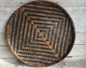 Large Winnowing Basket Shallow Basket - Wall Hanging - Wicker Tray -