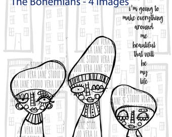The Bohemians -- 4 digi stamp set in jpg and png files