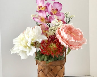 Silk Foral Arrangment with Silk Hibiscus, Orchid Carnations and Tropical Flowers in a Wood Weave Basket