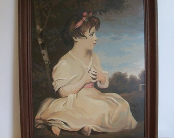 Vintage Paint by Number Painting of a Young Woman Sitting