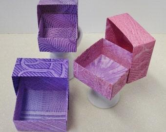 Origami Masu Paste Paper Nesting Boxes-Purples, Lilac, & Dark Pinks