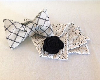 Grey and black  plaid  bow tie dapper box set