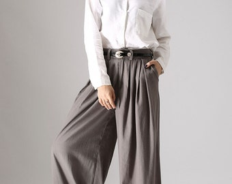 Gray palazzo pants, wide leg pants, womens long pants, linen pants, pleating pants, custom made, pockets pants, plus size available 839