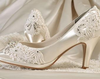Womens Wedding Shoes - Wedding Shoes,Vintage Lace Wedding Shoes, Bridal Shoes,Women's Bridal Shoes,Dyed Wedding Shoes, Pink2Blue Wedding