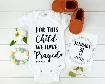 Bible Verse Onesie / Christian Baby Announcement / Scripture Onesie / Religious Onesie