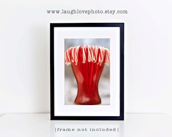 Candy Canes Photo, Holiday Christmas Picture, Peppermint Red White Stripes Decor, Festive Seasonal Food Home Kitchen Dining Decor Wall Art