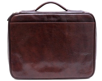 Leather folder document file folder A4 leather zipped folder bag red brown black made in Italy