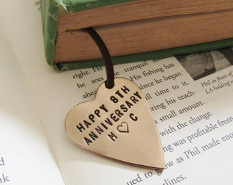 Personalized 8th Anniversary Bookmark Initials Bookmark Custom Name Bookmark Book Worm Book Lover New Year Gift Anniversary Wife Reader Gift