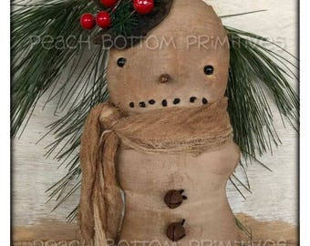 ePattern~Primitive Slouchy Lil Snowman Doll Sewing Pattern, Instant Download!  PDF Christmas Winter