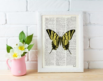 Butterfly Dictionary Book Print - Altered art on upcycled book pages BFL034