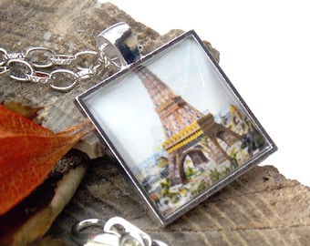 Eiffel Tower, Paris - City of lights turn of the century pendant necklace