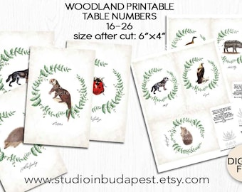TABLE SIGN, woodland Table sign, woodland table number 16-26, forest table numbers, fox table sign, woodland wedding theme, forest wedding