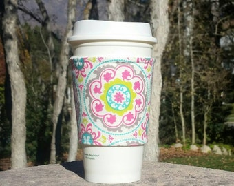FREE SHIPPING UPGRADE with minimum -  Fabric coffee cozy / cup sleeve / coffee sleeve / drink cozy - Bold Mandala Flowers