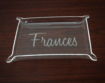 Jewelry Tray Personalized - Monogram Acrylic Tray - Personalized Vanity Tray - Custom Acrylic Tray - Small Monogrammed Tray - Desk Tray