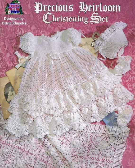 Crochet Pattern Christening Gown Outfit Baby Dress Blanket