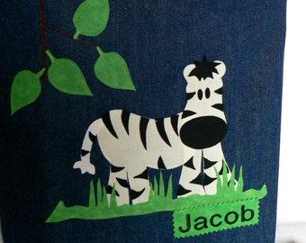 Zebra Safari Animal Tote Bag|Personalized Tote Bag|Preschool Bag|Toddler Bag|Children Book Bag|Easter Gift Bag|Kid Gift Bag|Denim Tote Bag