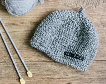 Grey Knitted Hat for Boy or Girl - Hand Knitted Baby Beanie in Sizes Newborn to 18 Months