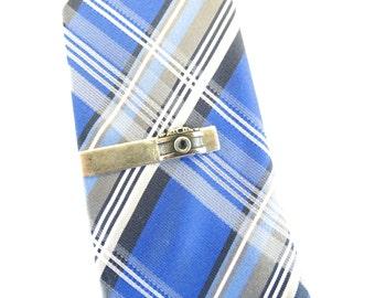Camera Tie Bar Camera Tie Clip Sterling Silver Ox Finish Gifts For Men Groom Tie Bar Small Camera