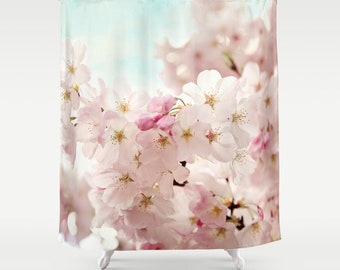 Pink cherry blossoms Shower Curtain,bathroom,home decor,pastel flowers,nature,shabby chic