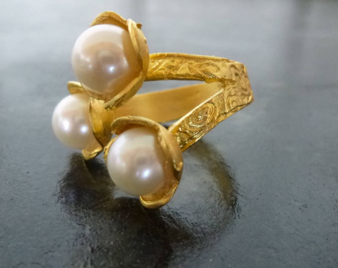 Featured listing image: Akoya pearl Adjustable ring 24 KT Gold Vermeil