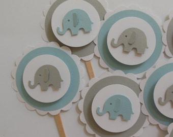 Elephant Cupcake Toppers - Blue, Gray and White - Boy Baby Showers - Boy Birthday Parties - Set of 12