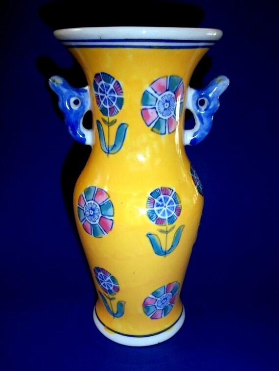 Vintage Yellow Vase French Porcelain Ceramic Pink Geometric