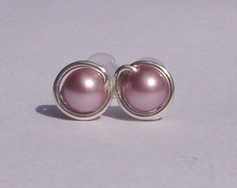 Tiny Powder Rose Pearl Stud Earrings (5mm), Swarovski Pearl Stud Earrings, Wire Wrapped Sterling Silver Stud Earrings, Dusky Pink Studs
