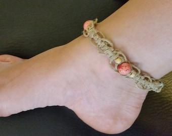 Speckled Pink wood & hemp anklet