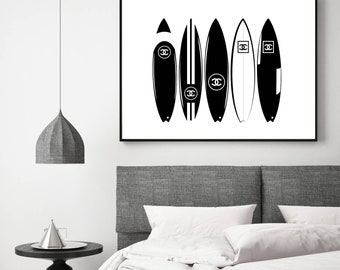 Large Chanel Surfboards Print | Fashion Prints | Black and White | Download | Designer | Surfboard Poster | Surfboard Download
