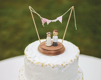 Rustic Wedding Cake Topper, custom wedding cake toppers, bride and groom cake toppers, country rustic cake topper, personalized cake toppers