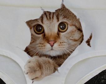 ec34812575dd Cute Cat panties, Cat briefs, Cat face, Kitty panties, Gift for her, Cat  underwear, Funny underwear, 3D panties, 3D lingerie,funny Panty