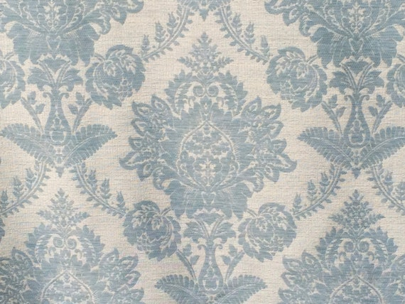Teal Blue Damask Curtain Fabric By The Yard Upholstery Fabric ...