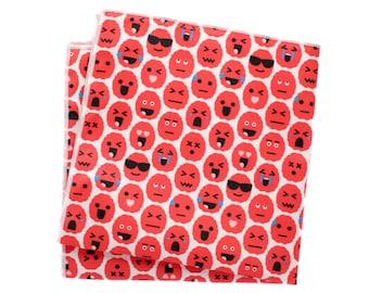 Pocket Square - Brain Emoji - Red