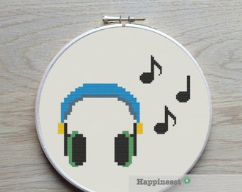 cross stitch pattern earphone, modern cross stitch, music,  PDF,  ** instant download**