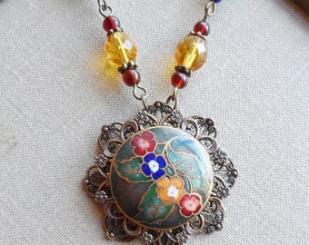 Antique Enamel Button Necklace with Czech Glass Beads, Timeless Trinkets, One of a Kind, Hunter Green, Golden Yellow, Garnet Red, Royal Blue