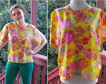 Summer FLOWERS 1980's 90's Vintage Yellow + Pink Pure SILK Shell Blouse with Short Sleeves // by Jack MULQUEEN // size Medium
