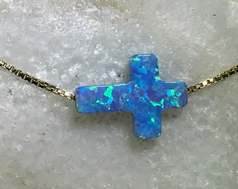 Cross Opal Necklace or Bracelet -14kt Gold Filled Chain- Christmas Gift, First Communion Gift, Religious Jewelry, Faith Jewelry, Cross Charm