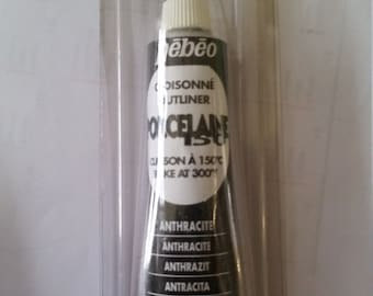 Pebeo porcelaine 150 - anthracite - black - outliner new old stock