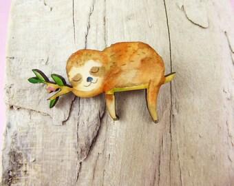 Sleeping Sloth Brooch