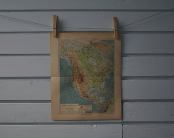 1890 Vintage North America Map