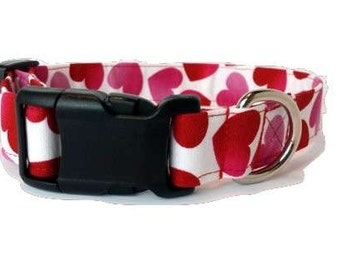 Valentine Dog Collar Valentines Day Red Heart pink Fabric Puppy Love Adjustable White Small Medium Extra Large