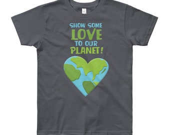 Gender Neutral Kids Earth Day Shirt - Youth Short Sleeve T-Shirt