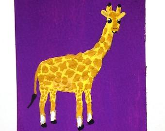 "Purple Giraffe #87 (ARTIST TRADING CARDS) 2.5"" x 3.5"" by Mike Kraus"