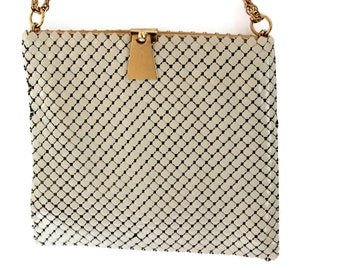 Vintage Whiting & Davis Off White Metal Mesh Purse Chain Handle with Gold Accent Handbag