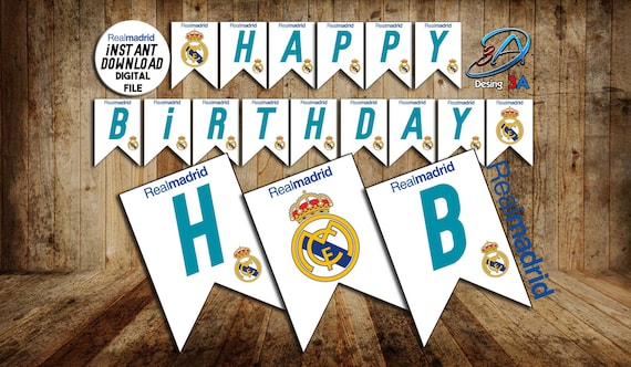 Real Madrid Banner Real Madrid Happy Birthday Real Madrid Print Real Madrid Birthday Real Madrid Party