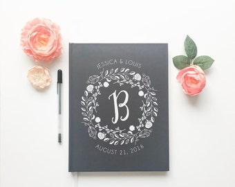 Monogramed Wedding Guestbook. Custom Monogram Wedding Guest Book. Personalized Wedding Book. Modern Momogram Book. Wedding Gift